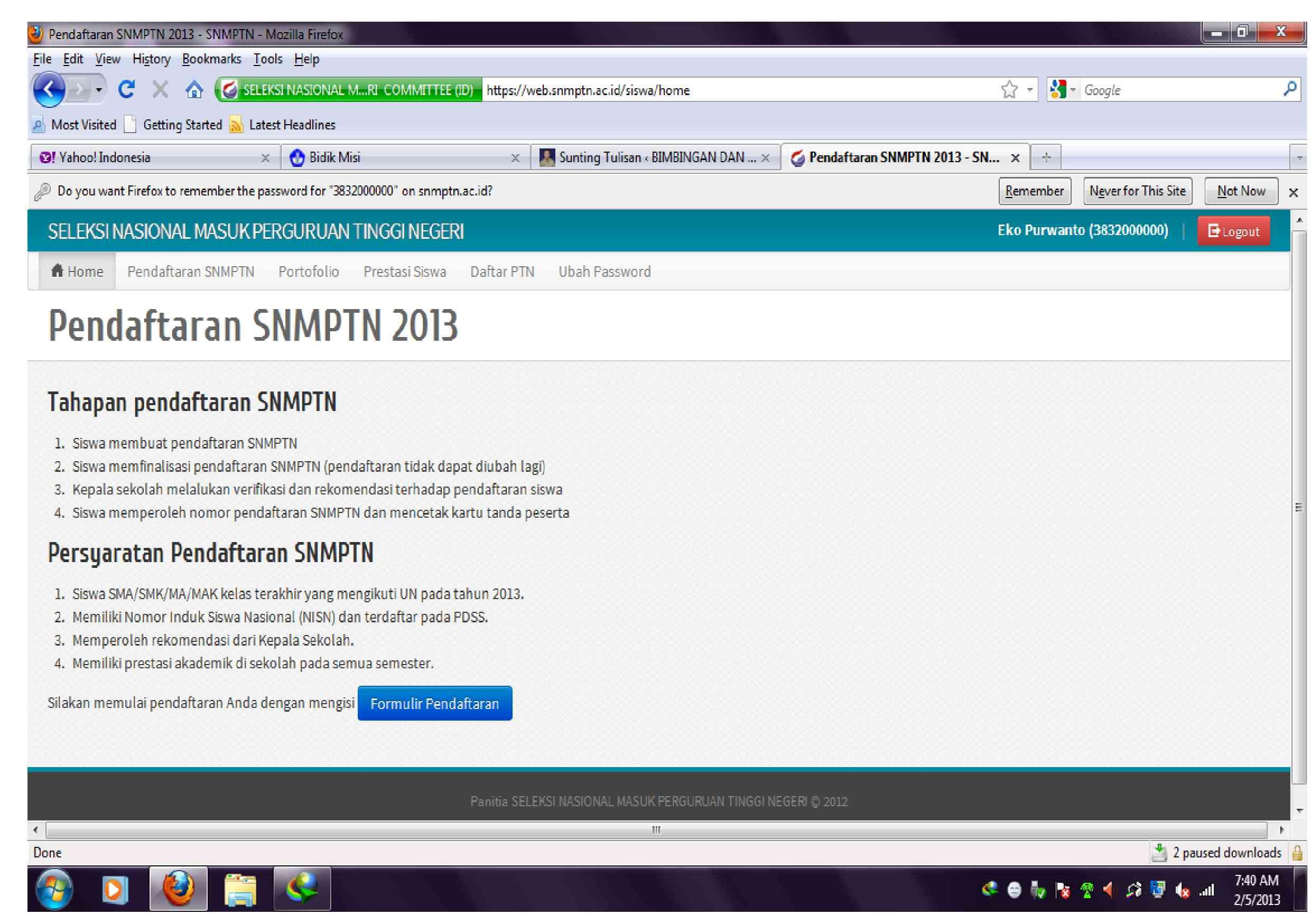 Tata Cara Login Snmptn 2013 Panduan Untuk Siswa Bimbingan Dan